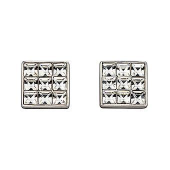 Fiorelli Silver Princess Cut Clear Crystal Square Stud Earrings E5887C