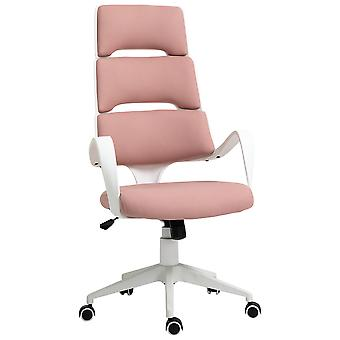 Vinsetto High Back Office Chair Work Executive 360 Swivel w/ 5 Castor Wheels Foam Padding Ergonomic Wide Arms Pink