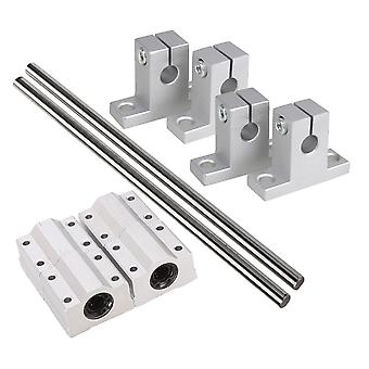 Metal Silver Shaft Optical Ball Bear Linear Rail Support Set 8mm Dia