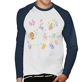 Care Bears Love Heart Montage Men's Baseball Long Sleeved T-Shirt