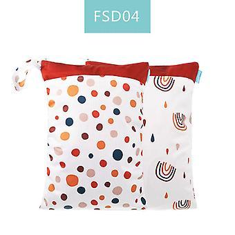 Reusable Waterproof Fashion Prints Wet Dry Diaper Bag, Double Pocket Cloth