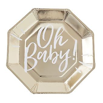 Gold Foiled OH BABY! Baby Shower Party Paper Plates x 8