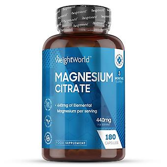 Magnesium Citrate Tablets - 440mg/serving - 180 Capsules (3 Month Supply)