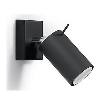 Ring væg lys sort stål 1 pære