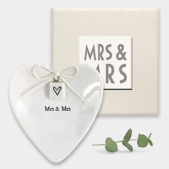 East of India Mrs & Mrs Heart Ring Dish  - Porcelain - Wedding gift