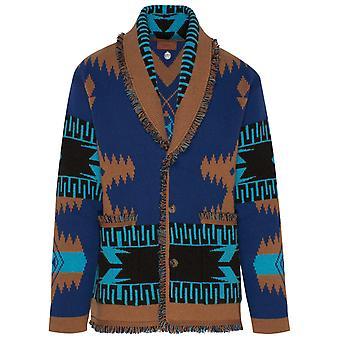 Alanui Lmhb018r21kni0014385 Men's Blue Cashmere Cardigan
