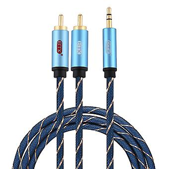 EMK 3.5mm Jack Male to 2 x RCA Male Gold Plated Connector Speaker Audio Cable, Cable Length:1.5m(Dark Blue)