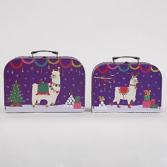 Fa La La Llama Suitcases Set of 2 Christmas Present Decoration