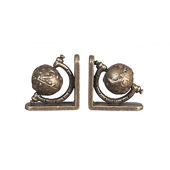 Nuket House Globe Bookends Antiikki Messinki Miniatyyri opiskelu lisävaruste