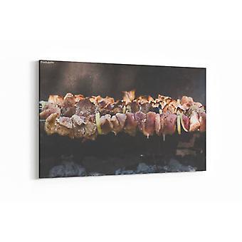 Schilderij - BBQ, sjasliek — 100x70cm