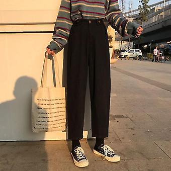 Jeans Womens Plus Size, Solid High Talie, Femei Pantaloni Buzunare Simple Chic