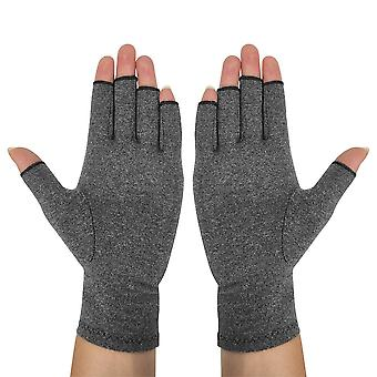 1 Pair Wrist Compression Anti-slip Half Fingers Household Gloves (gray)