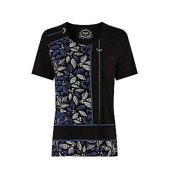TIGI Black Floral Design Top