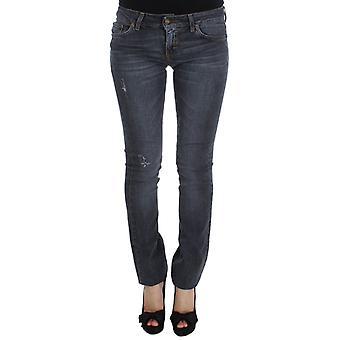 Cavalli Just Cavalli Blue Wash Cotton Blend Slim Fit Jeans