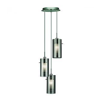 Lámpara Colgante 3 Bombillas Duo2 En Cromo Y Vidrio