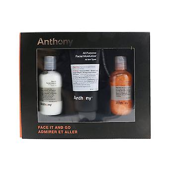 Anthony Face It & Go Kit: Glycolic Facial Cleanser 100ml + All Purpose Facial Moisturizer 90ml + Facial Scrub 100ml 3st