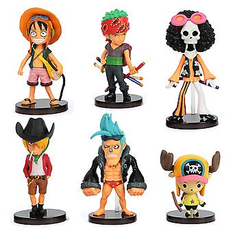 6pcs Figure Set One Piece Zoro Toy Doll Anime Collection Chopper Cute Model Decoration