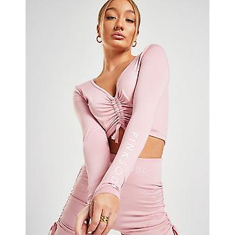 New Pink Soda Sport Women's Ruched Long Sleeve Crop Top from JD Outlet
