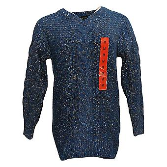 ADRIENNE VITTADINI Women's Printed V-Neck Pull-Over Sweater Blue 1446450