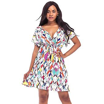 Ženy tlač mini šaty v krku krátky rukáv elastický pás letná pláž plisovaná plus veľkosť