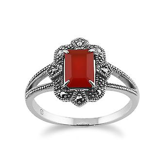 925 Sterling sølv Art Deco 0.85ct Orange karneol & Marcasite Ring