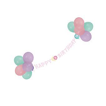 Guirlande met Happy Birthday pastel ballonnen 1,5 m