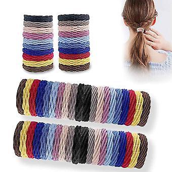 Wokex 60pcs Mehrfarbige Nahtlose Baumwolle Elastische Haargummis, Bunt Pferdeschwanz Zopfgummis
