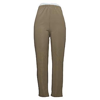 Susan Graver Women's Petite Pants Knit Slim Leg Beige