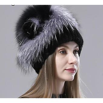 Зимняя шляпа для женщины, стильная норковая меховая шляпа, вязаная пушистая шапочка