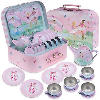 - 15-teiliges Mädchen Spielzeug -Zinn-Tee-Set & Tragetasche - Ballerina Design