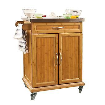 SoBuy Kitchen Storage Trolley Encimera de acero inoxidable con ruedas de goma, FKW13-N