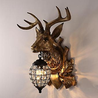 30CM Lucky Deer Head Wall Lamp, 220V E14 Without Light Source