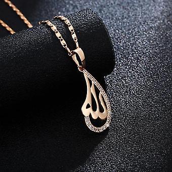Bijoux de chaîne plaqué or 18k goutte d'eau cristal islam allah