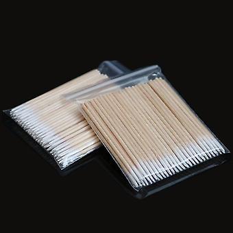رئيس مزدوج ماكياج القطن مسحة Microbrush الخشب العصي