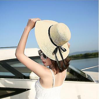 Khaki skládací floppy dívky slaměný klobouk sluneční čepice letní klobouk uv ochranný čepice pro dámu fa1350