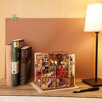 Robotime diy wooden house miniature doll house kits mini dollhouse with furniture toys for children gift - sam study dg102