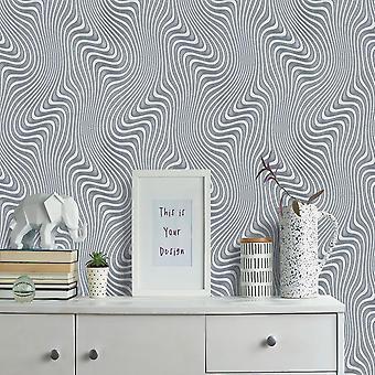 Erismann Waves Silver Wallpaper
