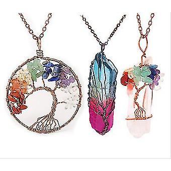 Drzewo życia wisiorek Ametyst Rose Crystal Naszyjnik Gemstone Chakra Biżuteria
