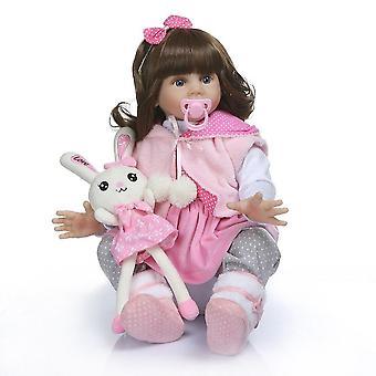60Cm de alta calidad renacido niño fridolina suave silicona bebe muñeca renacida pincess muñeca de pelo largo