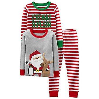 Simple Joys by Carter's Boys' 3-Piece Snug-Fit Cotton Christmas Pajama Set, Red/White Stripe/Santa, 24 Months