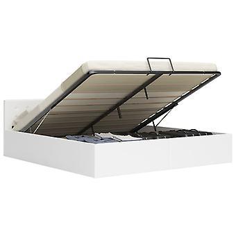 vidaXL سرير التخزين الهيدروليكية الجلود الاصطناعية البيضاء 180×200 سم