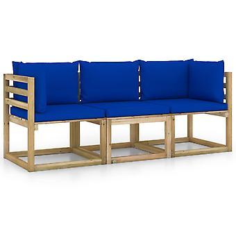 vidaXL 3-personers havesofa med blå pude