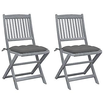 vidaXL قابل للطي حديقة الكراسي 2 PCS. مع وسادة السنط الخشب الصلب