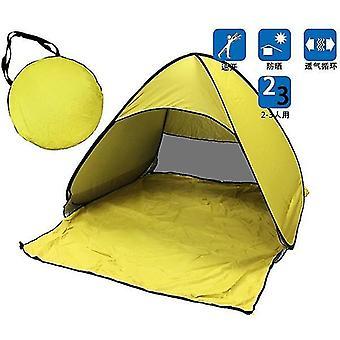 휴대용 자동 팝업 비치 캐노피 태양 UV 그늘 대피소 야외 캠핑 텐트 야외 (노란색)