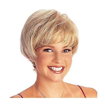 Lebensechte Hochtemperatur-Seide kurze gerade Perücke (blond)