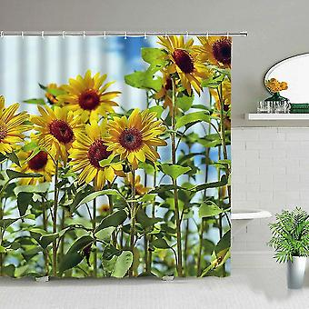 Auringonkukka kukka kasvi maisema suihku verho kukka painatus kylpyhuone vedenpitävä (180 * 180cm)