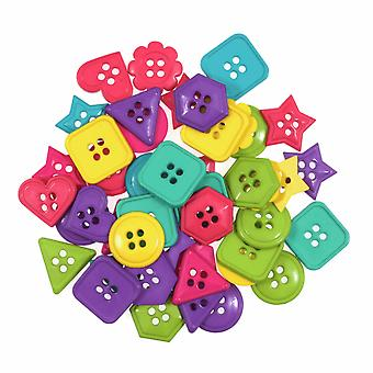 LAST FEW - 20g Novelty Carnival Geometry Buttons For Sewing and Haberdashery