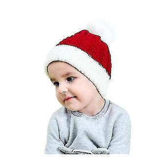 Kids Baby Toddler Cable Knit Children's Pom Winter Hat Beanie(RED)