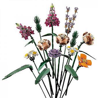 Flor de bloque de construcción, un ramo de flores único y un proyecto creativo