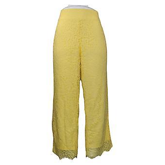 Isaac Mizrahi En direct! Petit pantalon pour femmes Jambe large Tricoté Dentelle Jaune A375765